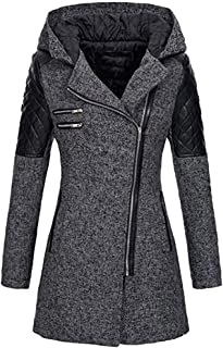 SEXYTOP Women's Winter Lapel Hooded Overcoat Leather Sleeve Zip Jacket Warm Thick Slim Fit Outerwear (S-5XL)