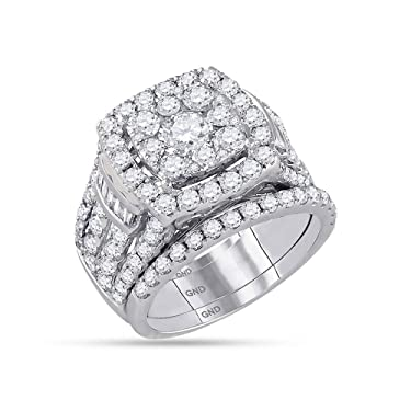 14kt White Gold Round Diamond Bridal Wedding Engagement Ring Band Set for Women 4.00 Cttw