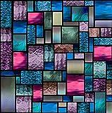 LLX - Pellicola decorativa statica per finestra, motivo geometrico a macchia funky, con blocco UV, 60 x 160 cm