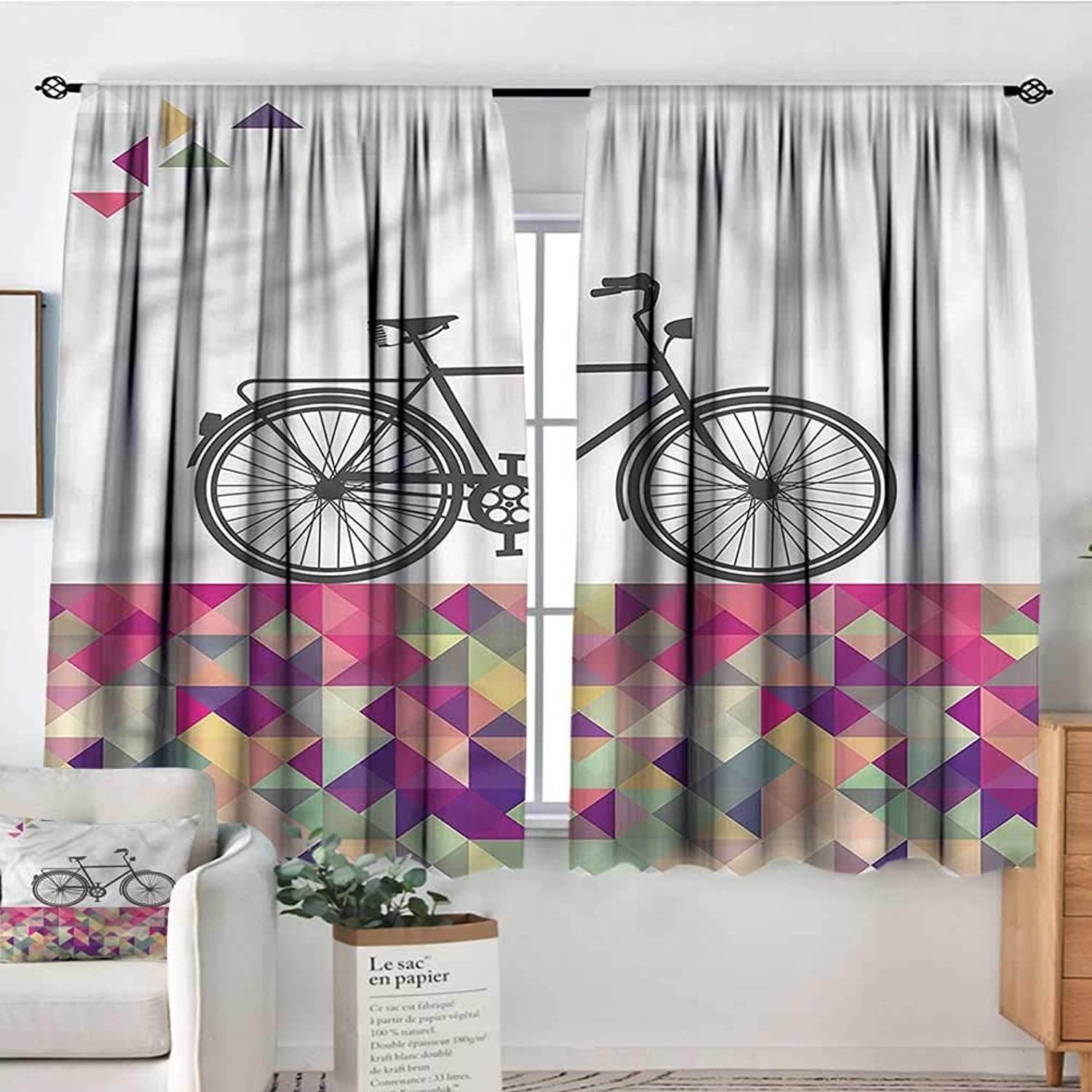 Sanring Geometric,Bocking Ight Rod Curtains Bike Over color Mosaic 52 x63  for Baby Bedroom