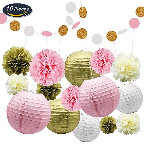 KUNGYO Seidenpapier Pom Pom Blumen und Papierlaternen Party Dekoration, 16 Stück
