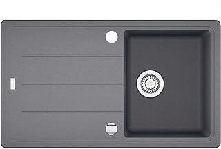 """BFG 611-86, 860x500mm, reversibel, 3 1/2"""", mit Ventil, mit Ueberlauf,Steingrau"""