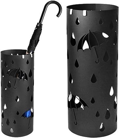 Stile moderno portaombrelli con vassoio e 4 ganci stampelle cremagliera canna da stampella portaombrelli L20xW20xH49cm,Black