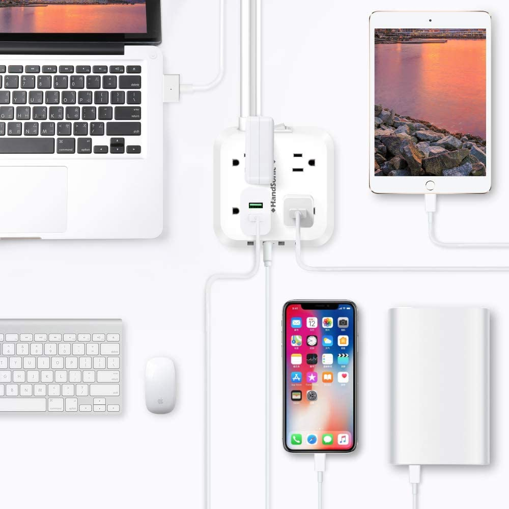 HANDSONIC Power Strip, Mountable Flat Plug Extension Cord with 4 Outlets, 3 USB-A, 1 USB-C, 5 ft Cord, Compact Size Charging Station for Home, Office, Dorm Essentials, Desktop, Travel and Cruise Ship