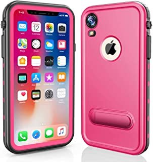 RedPepper Waterproof Case for iPhone XR 6.1 Inch, Full-Body Protective iPhone XR Case Shockproof Dirtproof Snowproof IP68 Certified, Built-in Screen Protector with Kickstand (Pink/Stand)
