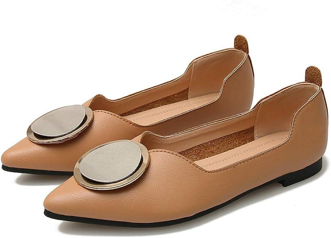 Women Classic Pointy Regular store Toe Slip OFFer On Flat Loafers Metal Ballet Decor