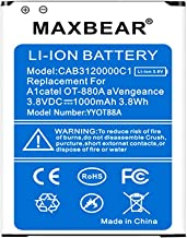 Alcatel OT-880a Battery, MAXBEAR 1000mAh Li-ion Battery Replacement CAB3120000C1 Spare Battery for Alcatel OT-880a Avengeance [12 Months Warranty]