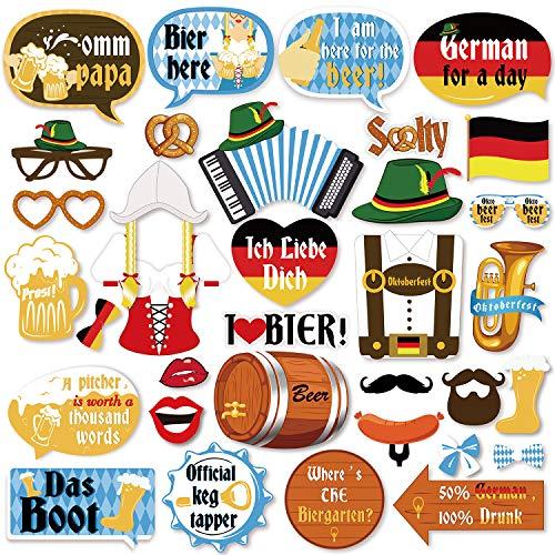 Qpout 35 Piezas Accesorios para Fotos del Festival de la Cerveza de Múnich Accesorios para Fotos del Festival de la Accesorios Divertidos para la Foto del Oktoberfest