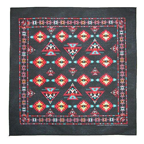 CTM Apache Southwest Print Bandana, Black