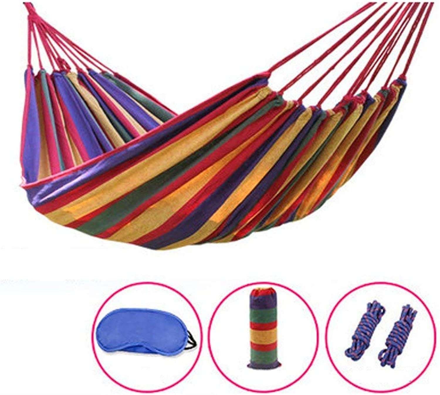 Hammocks Outdoor Thicker Canvas Camping Dorm Room Indoor Bedroom Student Swing Climbing Tourism Equipment (color   Red, Size   180  150cm)