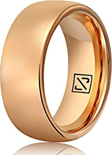 Luxffield 2mm 6mm 8mm Tungsten Wedding Band for Men Women Black/Blue/Rose Gold/Silver/Golden Dome Promise Engagement Ring, Brushed/Polished Finish Comfort Fit, Size 7.5-13