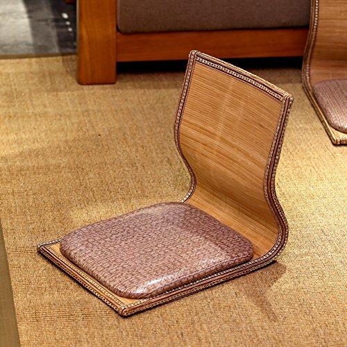 BEIGOO Materiales Naturales Zaisu,Asientos Piso Plegable Japonés Silla del Piso Meditación con Respaldo-K