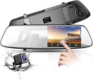 Backup Camera 4.3 Inch Mirror Dash Cam 1080P TOGUARD Touch Screen Front and Rear Dual Lens Car Camera with Parking Assistance, Rear View Mirror Backup Camera with Waterproof Rear View Reverse Camera
