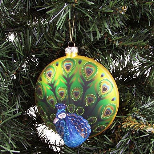 BURI Glas-Weihnachtsbaumkugel Pfau Ø10cm Weihnachtsbaum-Anhänger Christbaumschmuck