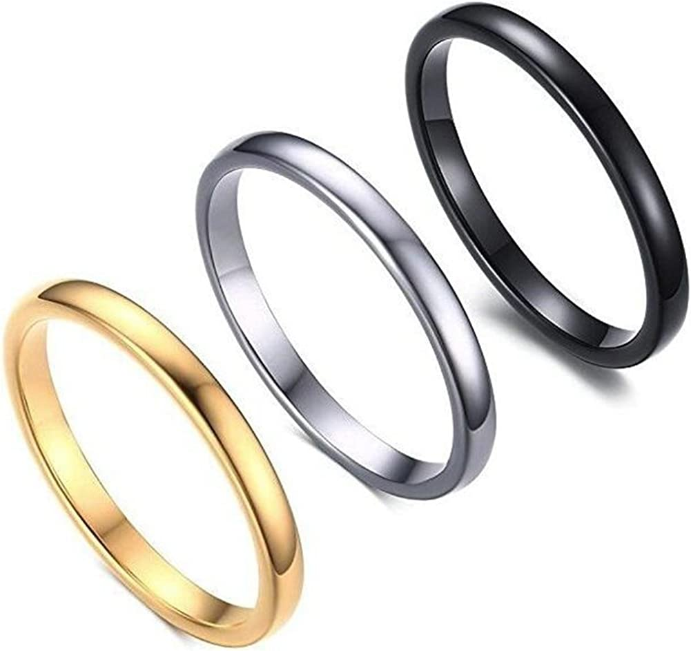 Jude Jewelers 3 Pack, 2MM Thin Stainless Steel Stackable Wedding Band Enhancer Ring