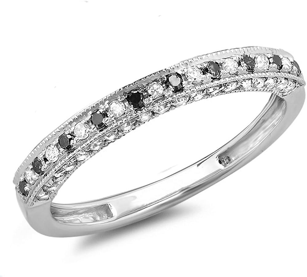 0.40 Carat (ctw) 10K Gold Round Black & White Diamond Ladies Stackable Anniversary Wedding Band