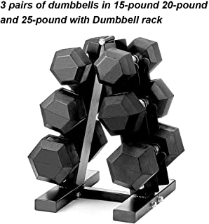 PAPABABE Dumbbells Rubber Encased Hex Dumbbell Free Weights Dumbbells Set with Rack Man Women Home Weight Set Dumbbell with Stand