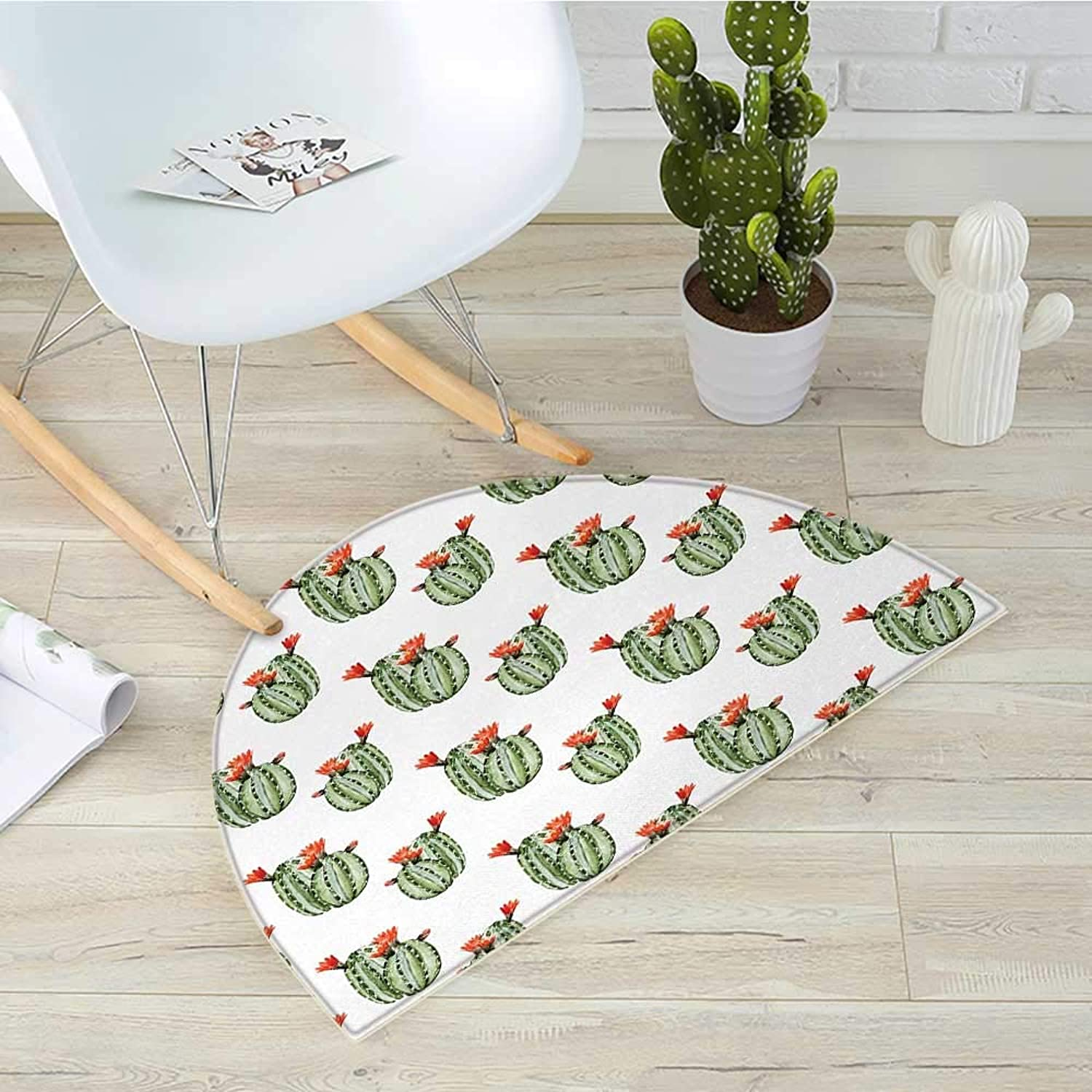 Cactus Semicircular CushionCactus with Spikes and Red Flowers Mexican Hot Desert Vintage Image Artwork Entry Door Mat H 31.5  xD 47.2  Green and orange