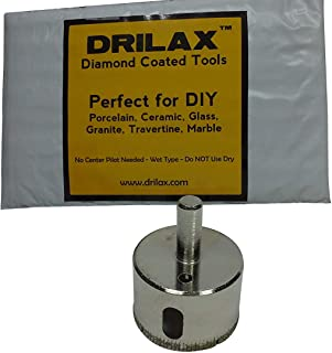 Drilax 1 3/4 Inch Diamond Hole Saw Drill Bit Tiles, Glass, Fish Tanks, Marble, Granite Countertop, Ceramic, Porcelain, Coated Core Bits Holesaw DIY Kitchen, Bathroom, Shower, Faucet Installation Size 1 3/4