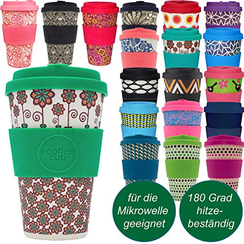 LS-Design Coffee to Go Becher 400ml Stockholm Flowers Ecoffee Cup 2.0 Mikrowelle Bambus