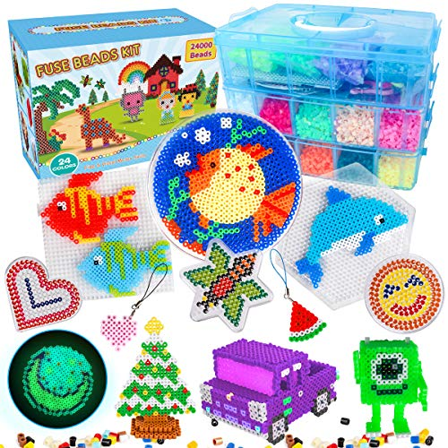 Fuse Beads - 24,000pcs Fuse Beads Kit for Kids - 24 Color Iron Beads Set with 4...