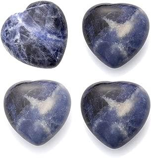 Sunligoo Healing Crystal Sodalite Heart Love Worry Stones Set Pocket Palm Thumb Gemstones Chakra Reiki Balancing -1 inches, 4Pcs