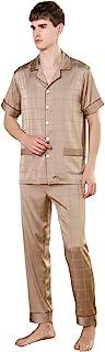 YAOMEI Mens Pyjamas Set Satin Long, 2021 Mens Silky Short Sleeves Nighties Couples PJ Set Sleepwear Nightwear, Lingerie Bu...