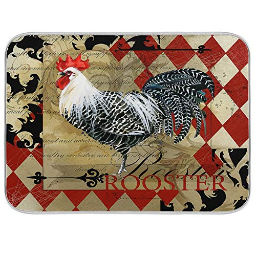 Vintage Rooster Domestic Farm Bird Red Rhombus Dish Drying Mat for Kitchen Absorbent Microfiber Pad Heat-resistant Drainer Mats Countertops Sinks Protector 16 x18