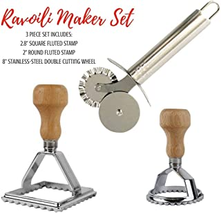 Cook's Fancy 3-Piece Ravioli Maker Stamp and Pasta Wheel Set, Includes Square and Round Dough Cutters plus Stainless-Steel...