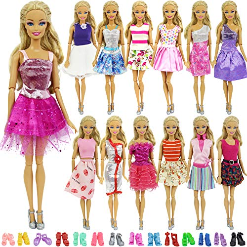 ZITA ELEMENT Lot 15 Items 11.5 Inch Girl Doll Clothes Outfits = 5 Pcs Casual Wear Party Dress and 10 Shoes, Fashion Handmade Doll Clothes Dress Shoes for 11.5 Inch Doll Xmas Gift