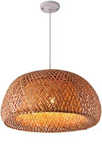TZZ Bamboo Chandelier Retro Light Fixtures Wicker Light Fixtures Chandelier Dinging Room Ceiling Lamp Farmhouse Pendant Light,Wicker Rattan Shades Weave Lamp(Coffee)