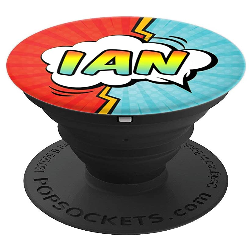 Ian Gift Pop Comic Book Art Superhero Black Red Blue Men - PopSockets Grip and Stand for Phones and Tablets