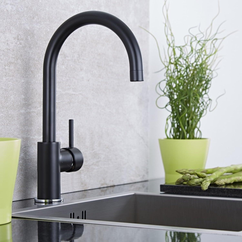 Milano Black Single Lever Mono Kitchen Sink Mixer Tap with Swan Neck Swivel Spout