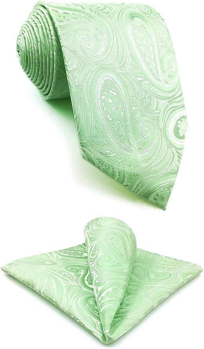 S&W SHLAX&WING Ties for Men Neckties Apple Green Mint Paisley