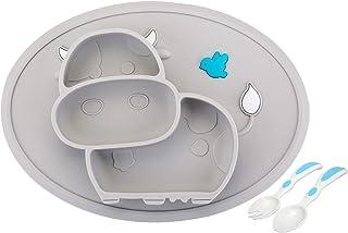 Mantel individual de silicona para bebés, placa de alimentación antideslizante para niños pequeños Bebés Niños con fuerte succión Se adapta a la mayoría Bandejas para Tronas