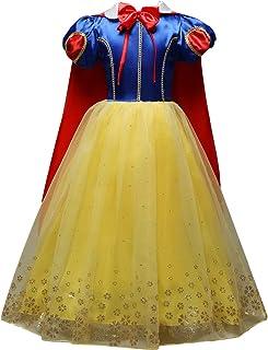 627a195e0d7f5 Eleasica Manches Bouffante Robe de Cosplay Princesse Blanche-Neige  Officielle Tenue Cape Tutu en Tulle