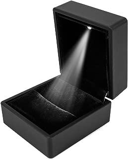 iSuperb Pendant Box Black Jewelry Case Organizer with LED Light Gift Box