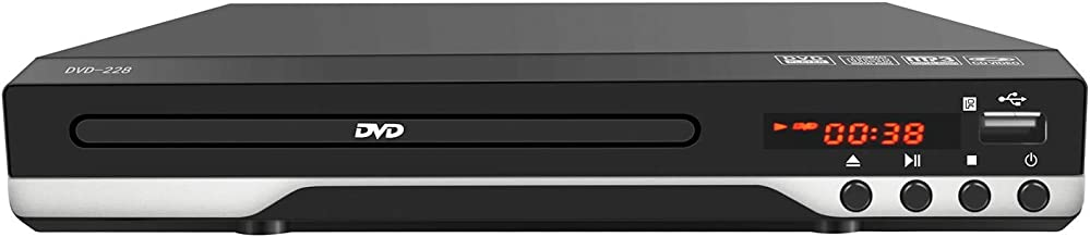 Compact DVD Player for TV - Multi Region Digital DVD Player with Remote Control, USB Port, Coaxial Port, AV Cable for TV Connection