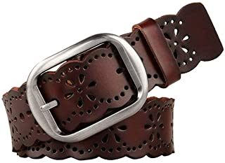 Women's Hollow Flower Leather Belt for Jeans Pants Wide Belt for Ladies