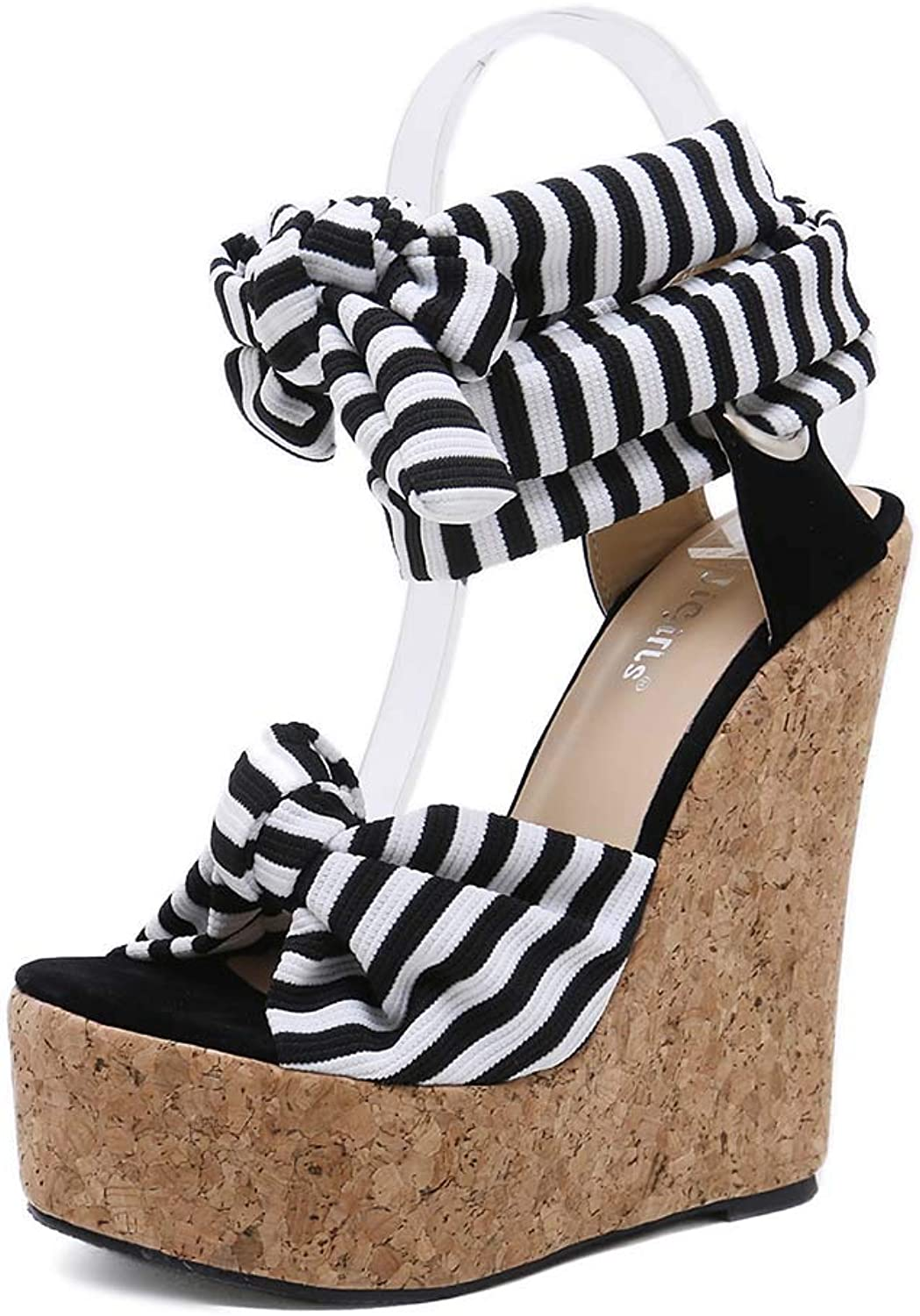 Womens high Heel shoes Waterproof Platform Wedge Sandals Striped lace-up Fashion shoes Summer