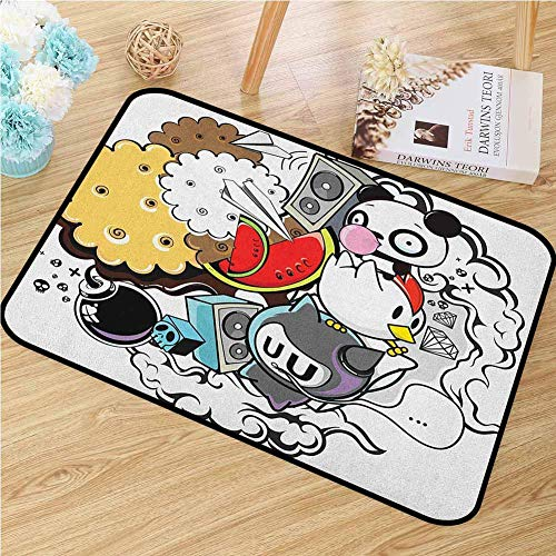 BIRSY Indie Front Door Mat Carpet Animal And Food Themed...