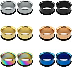 Pierced Art Trends 6 Pairs Surgical Stainless Steel Single Flare Tunnels Flesh Plugs Ear Gauges with Silicone O-Rings