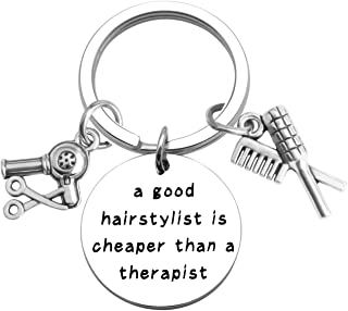 ENSIANTH Hairstylist Gift Hairdresser Keychain A Good Hairstylist is Cheaper Than A Therapist Keychain Cosmetology Graduation Gift