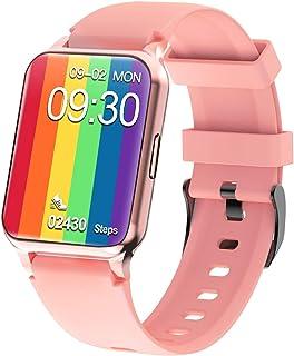 スマートウォッチ 2021最新 スマートブレスレット 大画面 多運動モード フルタッチ 活動量計 着信通知 輝度調整 音楽制御 アラーム 長座注意 天気 日本語 iPhone&Android対応 (pink)