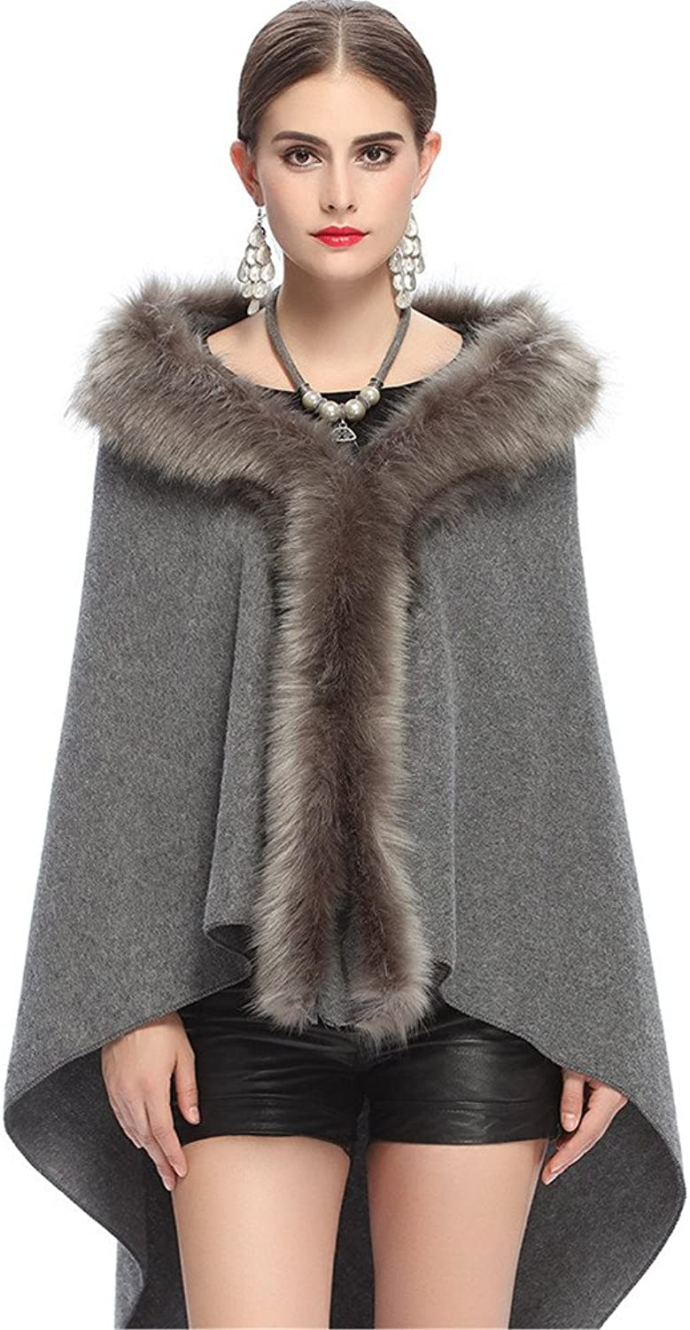 Women Shawl Wraps Fur Cloak Coat OutWare Ladies Faux Fox Fur Thickened Triangle Knitted Scarf Shawl Woman