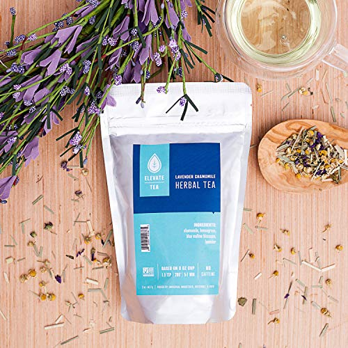 Elevate Tea LAVENDER CHAMOMILE HERBAL TEA, Loose Leaf Tea Blend, 75 servings, 3-Pack of 2 Ounce Pouches, Caffeine Level: None