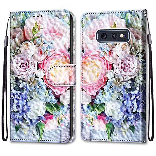 Nadoli Handyhülle Leder für Samsung Galaxy S10e,Bunt Bemalt Rosa Strauß Trageschlaufe Kartenfach Magnet Ständer Schutzhülle Brieftasche Ledertasche Tasche Etui