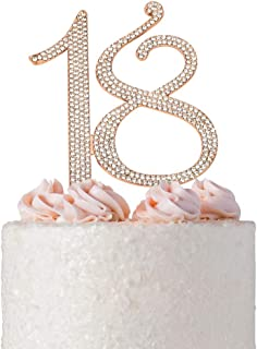 18 ROSE GOLD Cake Topper | Premium Sparkly Crystal Diamond Bling Rhinestone Gems | 18th Birthday Party Decoration Ideas | Quality Metal Alloy | Perfect Keepsake (18 Rose Gold)