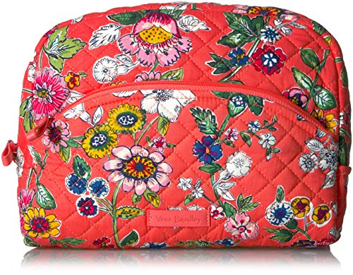 Vera Bradley Women's Signature Cotton Large Cosmetic Makeup Bag, Coral Floral, One Size