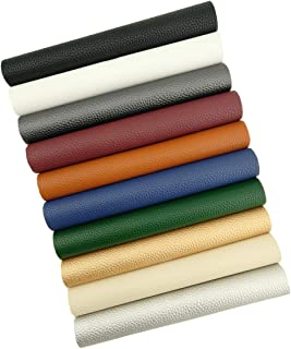 AOUXSEEM 10 Pcs Litchi Pattern Faux Leather Sheets for Earrings Bows Jewelry Making 8x12 inches, PU Solid Color Fabric